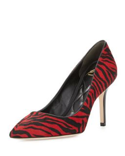 Malika Striped Calf Hair Pump, Red/Black   B Brian Atwood   Red/Black (40.0B/10.
