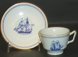 Spode Trade Winds Blue London Shape Footed Cup & Saucer Set, Fine China Dinnerwa