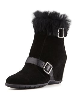 Vividly Suede Rabbit Collar Wedge Bootie   Aquatalia by Marvin K.   Black (40.