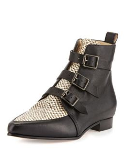 Marlin Snake Print Ankle Boot, Black/Natural   Jimmy Choo   Black/Natural (40.