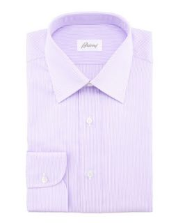 Mens Mini Bengal Striped Dress Shirt, Lavender/White   Brioni   White (16L)