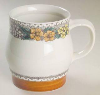 Goebel Burgund Mug, Fine China Dinnerware   Country,Rust Rim,Yellow,Blue&Gray Fl