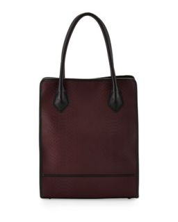 Julia Snakeskin Embossed Leather Tote Bag, Burgundy   Gigi New York