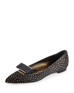 Spotted Calf Hair Bow Buckle Flat   Lanvin   Black (39.0B/9.0B)