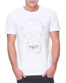 Mens Skull & Grill Outline Jersey Tee   Alexander McQueen   White (MEDIUM)