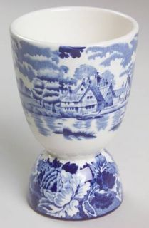 Enoch Wood & Sons English Scenery Blue (Blue Backs,Smooth) Double Egg Cup, Fine