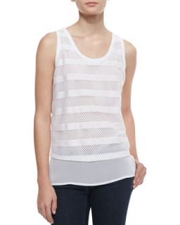 Womens Striped Mesh Tank Top, White   Robbi & Nikki   White (MEDIUM)