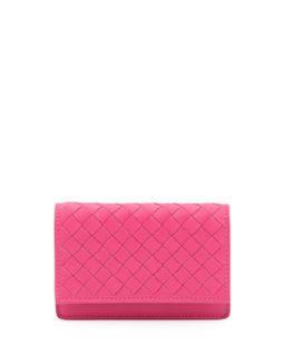 5/6 Flip Credit Card Case, Rosa Fuchsia   Bottega Veneta   Rosa shck fuxia