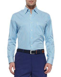 Mens Multi Stripe Sport Shirt, Blue   Peter Millar   Blue multi (MEDIUM)