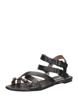 Studded Double Buckle Flat Sandal, Black   Lanvin   Black (37.0B/7.0B)