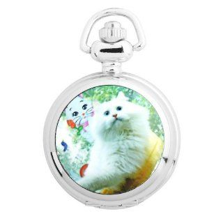 Yesurprise Vintage Ceramic Painting Style Necklace Pocket Chain Quartz Watch S3009 Cat Animal: Watches