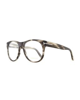 Mens Round Acetate Fashion Glasses, Gray   Tom Ford   Grey