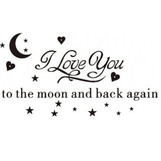 "DIY I Love You to the Moon and Back Again Wall Decal Sticker Mural Art Lettering Saying Quotes Wall Decor Black   Small Size 7.9"" H X 23.6"" W   Nursery Wall Decor"