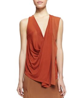 Womens Sleeveless V Neck Top with Drape   Donna Karan   Terracotta (SMALL)