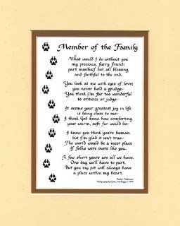 Member of the Family Dog or Cat Poem Wall Decor Pet Saying Dog Saying   Decorative Plaques