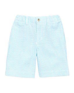 Boys Seersucker Shorts, Turquoise, 2Y 10Y   Oscar de la Renta