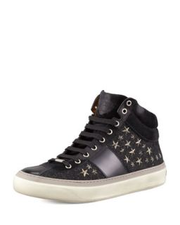 Mens Star Studded Hi Top Sneaker, Black/Gunmetal   Jimmy Choo   Blkgun (43/10D)