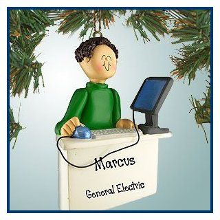 Personalized Christmas Ornaments   Computer Worker Male   Brown Hair   Personalized with Perfect Handwriting