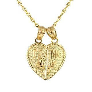 "14k Yellow Gold ""Te Amo"" Heart Breakable Couple Charm Necklace (16 Inches): Jewelry"