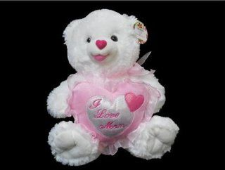 "I Love Mom Plush White Teddy Bear with Pink Heart   Plays Music and Says I Love You   12"": Toys & Games"