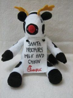 "Chick fil A 9"" Cow Plush with Reindeer Horns and Placard that says ""Santa Prefurs Milk and Chikin"": Everything Else"