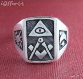 ALL Seeing EYE Mason Masonic Freimaurer Signet Solid Sterling Silver 925 Ring: Everything Else