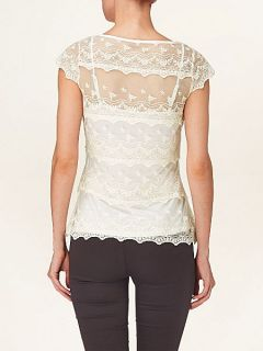 Phase Eight Maura tiered lace top Ivory