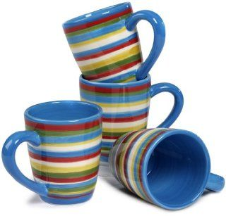 "Tabletop Lifestyles As Seen on ""Two and a Half Men"" Sedona Mug, 16 Ounce, Blue, Set of 4: Kitchen & Dining"