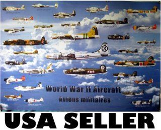 World War 2 aircraft POSTER planes all sides WW II WWII allies and axis aircraft airplane airplanes (poster sent from USA in PVC pipe) : Prints : Everything Else