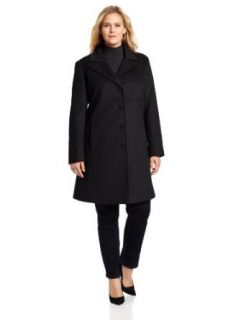 Larry Levine Women's Plus Size Classic Single Breasted Notch Collar Coat, Fire Brick, 14W at  Women�s Clothing store