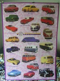 Karmann Ghia and Volkswagen VW Bus POSTER 23.5 x 34 showing 21 vintage models (poster sent from USA in PVC pipe)  Prints