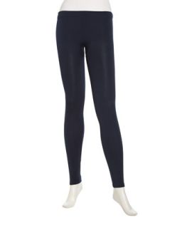 Knit Formfitting Leggings, Navy