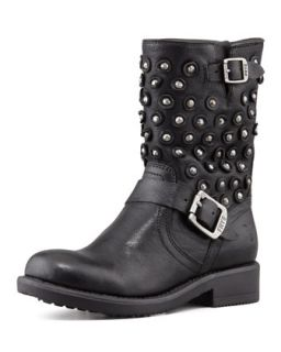 Jenna Disc Short Motorcycle Boot, Black   Frye   Black (12)