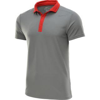 NIKE Mens Baseline Short Sleeve Tennis Polo   Size: Medium, Base Grey/red