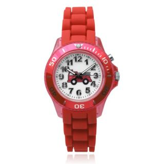 Journee Collection Kids Fire Truck Light Up Round Face Silicone Band