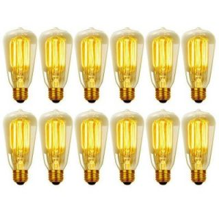 Globe Electric 40 Watt Vintage Edison S60 Squirrel Cage Incandescent E26 Filament Light Bulb   Antique Edison (12 Pack) 313242