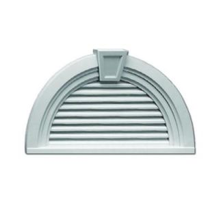 Fypon 36 in. x 18 9/16 in. x 3 in. Polyurethane Functional Half Round Louver Gable Vent with Deco Trim and Keystone FHRLV36X18MTK