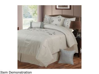 Lavish Home Daniela 7 Piece Embroidered Comforter Set   Quee