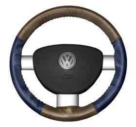 2015 Toyota Sienna Leather Steering Wheel Covers   Wheelskins Oak Perf/Blue Perf 15 1/4 X 4 1/2   Wheelskins EuroPerf Perforated Leather Steering Wheel Covers