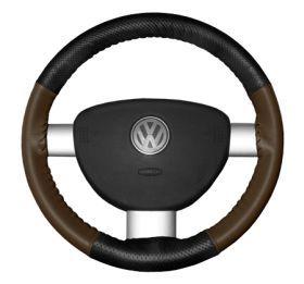 2015 Toyota Sienna Leather Steering Wheel Covers   Wheelskins Black Perf/Brown 15 1/4 X 4 1/2   Wheelskins EuroPerf Perforated Leather Steering Wheel Covers