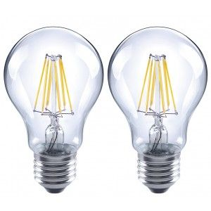 LUX LED LFLA19QE26D07 27K A19 Filament LED Bulb, E26 6.5W (60 Watt Equiv.) Dimmable   2700K   810 Lm. (2 Pk.)