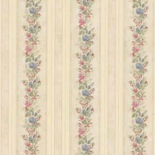Mirage 56 sq. ft. Alexis Beige Satin Floral Stripe Wallpaper 992 68351