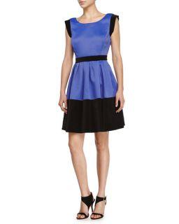 Halston Heritage Scoop Neck Colorblock Dress, Royal Blue/Black