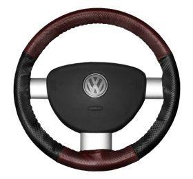 2015 Toyota Sienna Leather Steering Wheel Covers   Wheelskins Burgundy Perf/Black Perf 15 1/4 X 4 1/2   Wheelskins EuroPerf Perforated Leather Steering Wheel Covers