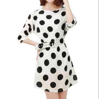 Allegra K Women's Half Sleeve Polka Dots Short Dress w Belt White (Size M / 8)