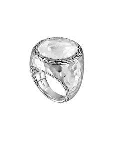 John Hardy Batu Palu Silver Ring with Moon Quartz, Size 7
