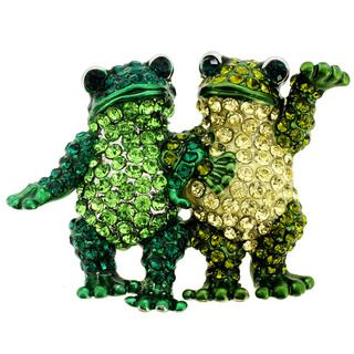 Green Crystal Frog Couple Animal Brooch