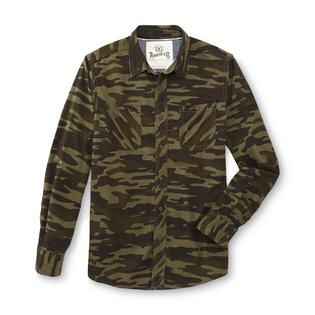 Roebuck & Co. Young Mens Twill Button Front Shirt   Camouflage