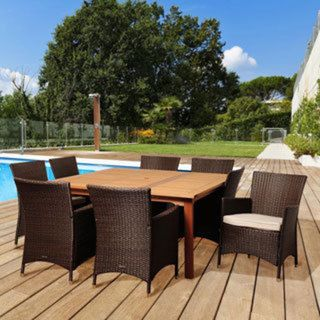 ia Wendy 9 piece Eucalypus Wood & Wicker Outdoor Dining Set with