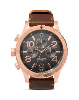 Nixon The 48 20 Chrono Leather Strap Watch, 48mm